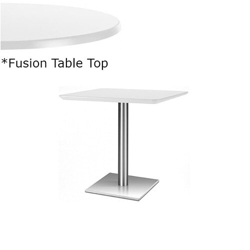 Frovi FLAT Square Canteen Table With Brushed Stainless Steel Base &Fusion Top W800xD800xH730mm - Ultra tough Laminated Surface For Indoor &Outdoor use - Available Colour Finishes: Dusky White (WH) &Steel Effect (S)