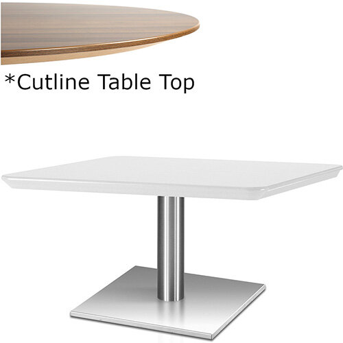 Frovi FLAT Rectangular Coffee Table With Brushed Stainless Steel Base &Cutline Top W1000xD600xH420mm - Thin-Cut Appearance Laminated Surface For Heavy-Use Areas