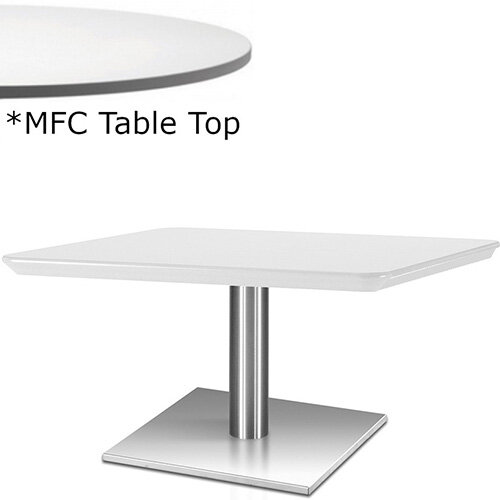 Frovi FLAT Rectangular Coffee Table With Brushed Stainless Steel Base &MFC Top W1000xD600xH420mm - Minimalist Design MFC Melamine Surface