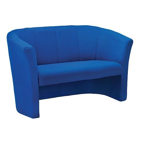 Tub Reception Sofa Fabric Upholstered Royal Blue