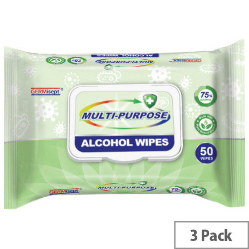 Germisept Multipurpose 75% Alcohol Wipes 50 Wipes Per Pack (3 Pack)
