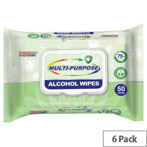 Germisept Multipurpose 75% Alcohol Wipes 50 Wipes Per Pack (6 Pack)