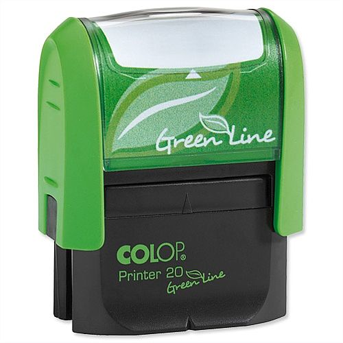 Colop Printer 20 Green Line Custom Stamp Self-Inking 4 Lines Text Imprint 37x13mm Ref 1082802204