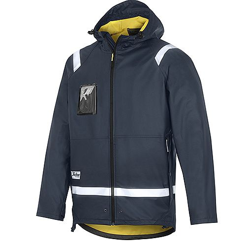 Snickers 8200 Rain Jacket PU Size L Navy Regular
