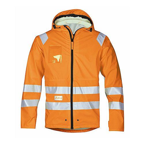 Snickers 8233 High-Vis PU Rain Jacket Orange Class 3 Size XS