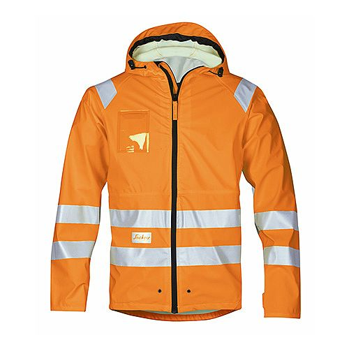 Snickers 8233 High-Vis PU Rain Jacket Orange Class 3 Size M