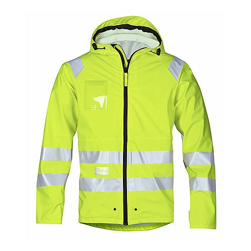 Snickers 8233 High-Vis PU Rain Jacket Yellow Class 3 Size XXXL