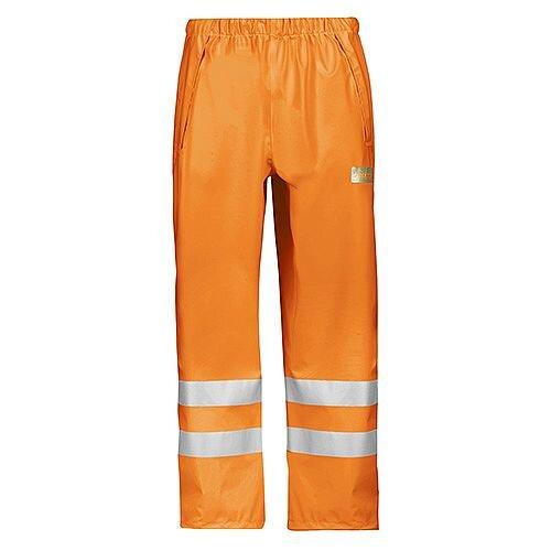 Snickers 8243 High-Vis PU Rain Trousers, Class 2 Size S Orange