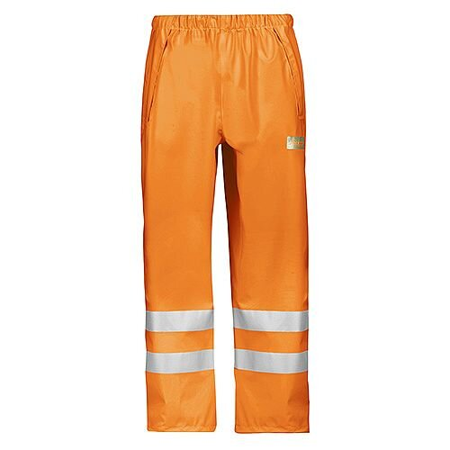 Snickers 8243 High-Vis PU Rain Trousers, Class 2 Size M Orange