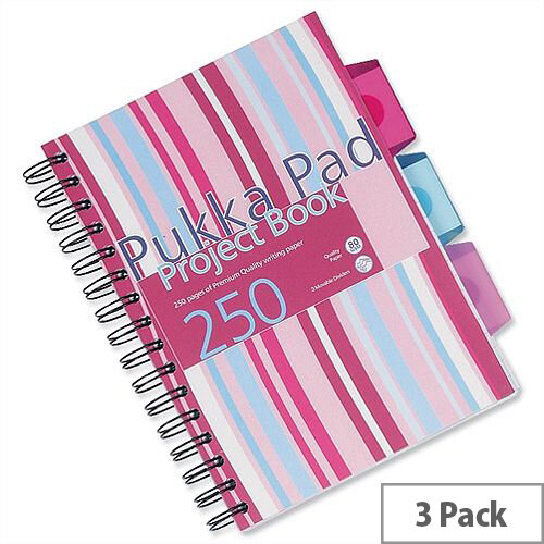 Pukka Pad A5 Wirebound Project Book 3 Divider – 250 Pages Each, Assorted Colours, Pack Of 3, 360 Degree Rotation, Durable, Polypropylene Covers, 80gsm &Ruled (PROBA5)