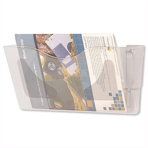 Literature Wall Pocket Landscape W375xH178mm Crystal Deflecto