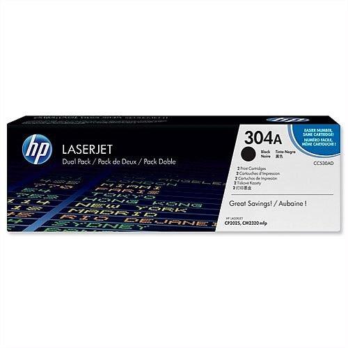 HP 304A Black Laserjet Toner Cartridge Twin Pack CC530AD