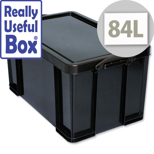 Really Useful 84 Litre Storage Box Plastic Recycled Stackable Black