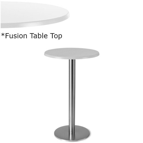 Frovi FLAT Round Canteen Poseur Table With Brushed Stainless Steel Base &Fusion Top Dia600xH1100mm - Ultra tough Laminated Surface For Indoor &Outdoor use - Available Colour Finishes: Dusky White (WH) &Steel Effect (S)