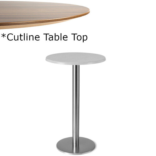 Frovi FLAT Round Canteen Poseur Table With Brushed Stainless Steel Base &Cutline Top Dia600xH1100mm - Thin-Cut Appearance Laminated Surface For Heavy-Use Areas