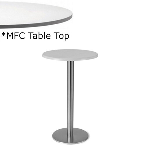 Frovi FLAT Round Canteen Poseur Table With Brushed Stainless Steel Base &MFC Top Dia600xH1100mm - Minimalist Design MFC Melamine Surface
