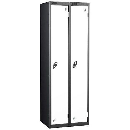 Personal Locker Nest of 2 Extra Deep 1 Door Black White Trexus