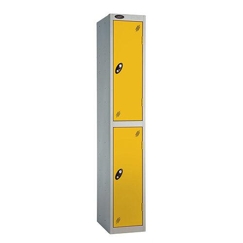 Probe 2 Door Extra Deep Locker ACTIVECOAT W305xD460xH1780mm Silver Body Yellow Doors