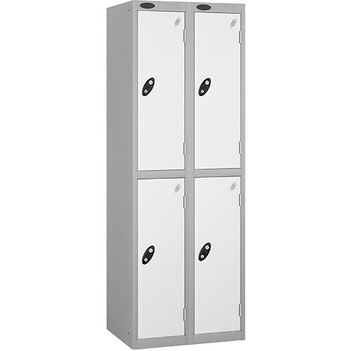 Probe 2 Door Locker Nest of 2 ACTIVECOAT W305xD305xH1780mm Silver Body White Doors By Lion Steel
