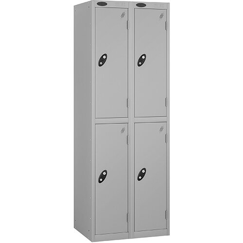 Probe 2 Door Extra Deep Locker ACTIVECOAT W305xD460xH1780mm Nest of 2 Silver Body &Doors By Lion Steel
