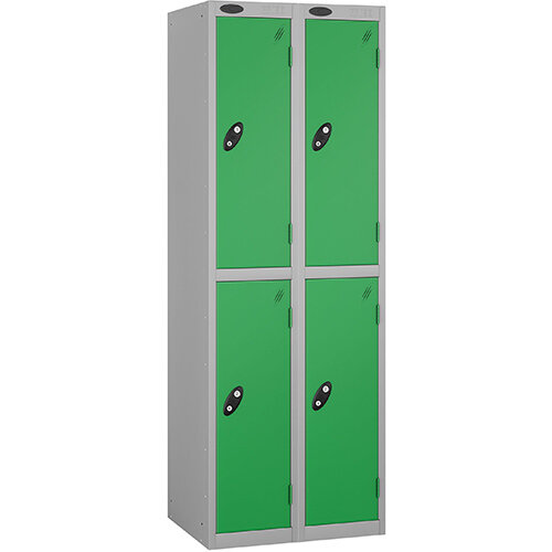 Probe 2 Door Extra Deep Locker ACTIVECOAT W305xD460xH1780mm Nest of 2 Silver Body Green Doors By Lion Steel