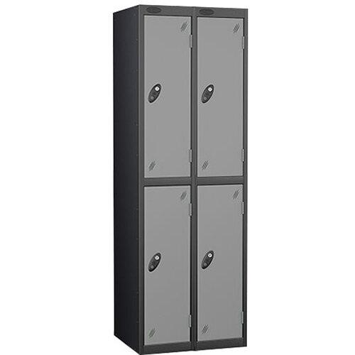 Probe 2 Door Locker Nest of 2 ACTIVECOAT W305xD305xH1780mm Black  Body &Silver Doors By Lion Steel