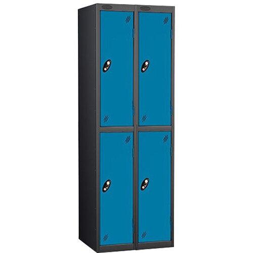 Probe 2 Door Locker Nest of 2 ACTIVECOAT W305xD305xH1780mm Black Body &Blue Doors By Lion Steel