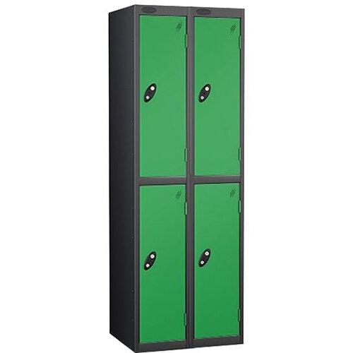 Probe 2 Door Locker Nest of 2 ACTIVECOAT W305xD305xH1780mm Black Body &Green Doors By Lion Steel