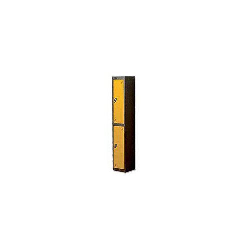 Probe 2 Door Locker Nest of 2 ACTIVECOAT W305xD305xH1780mm Black Body &Yellow Doors By Lion Steel