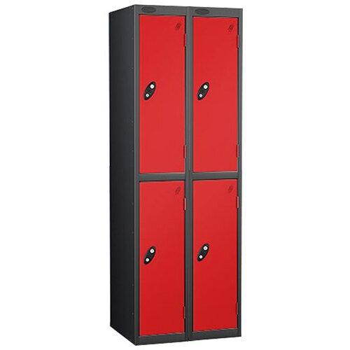 Probe 2 Door Extra Deep Locker ACTIVECOAT W305xD460xH1780mm Nest of 2 Black Body &Red Doors By Lion Steel