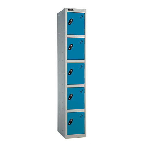 Probe 5 Door Extra Deep Locker ACTIVECOAT W305xD460xH1780mm Silver Body Blue Doors
