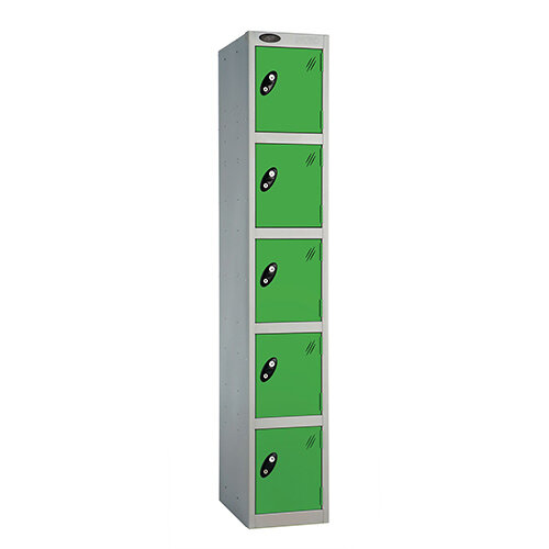 Probe 5 Door Extra Deep Locker ACTIVECOAT W305xD460xH1780mm Silver Body Green Doors