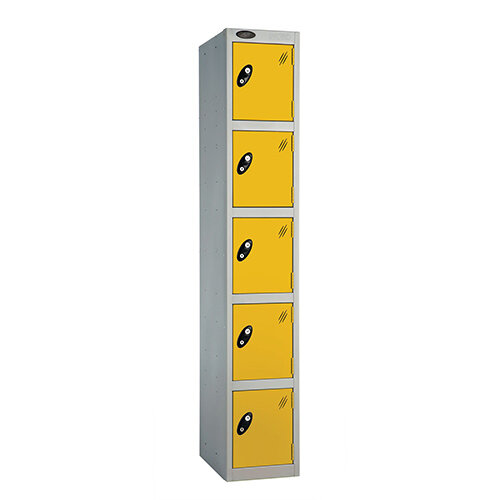 Probe 5 Door Extra Deep Locker ACTIVECOAT W305xD460xH1780mm Silver Body Yellow Doors