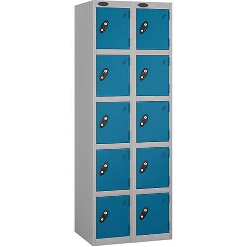 Probe 5 Door Locker Nest of 2 Silver Body Blue Doors By Lion Steel