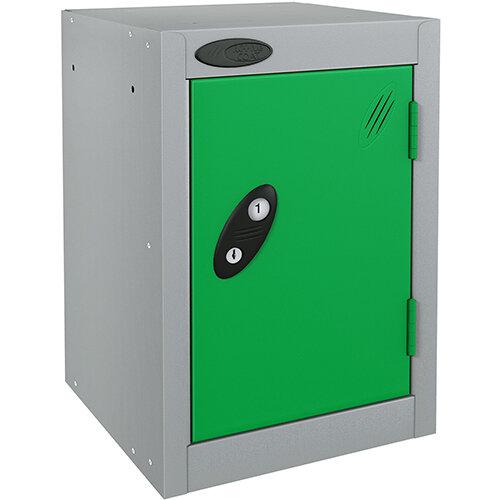 Probe Quarto 1 Door Small Locker ACTIVECOAT 305x305x480mm Silver Body &Green Doors