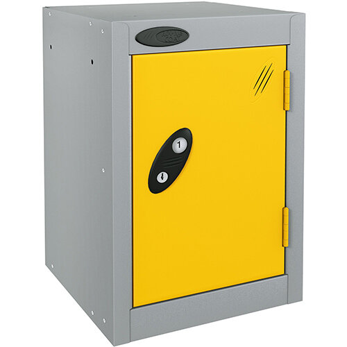 Probe Quarto 1 Door Small Locker Extra Deep ACTIVECOAT 305x460x480mm Silver Body &Yellow Doors
