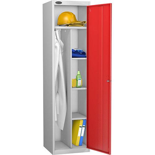 Uniform Locker Silver Body Red Doors Probe