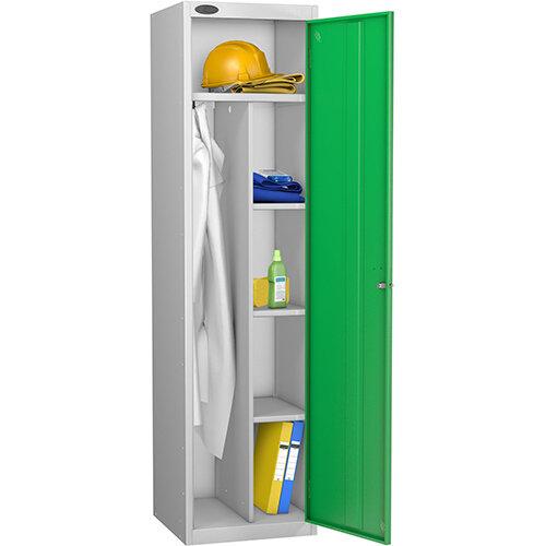 Uniform Locker Silver Body Green Doors Probe