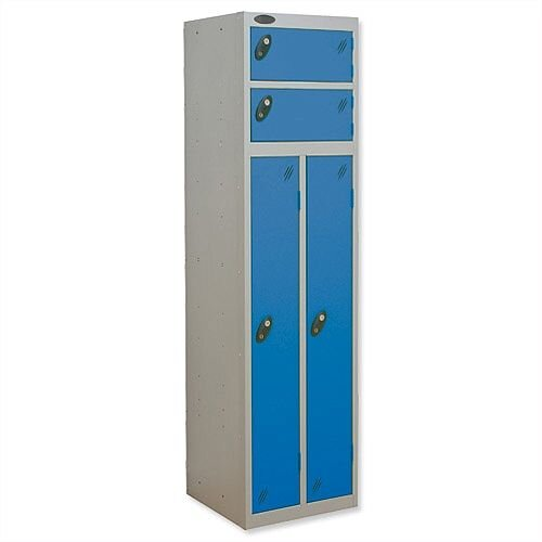 2 Person Locker Silver Body Blue Doors Probe