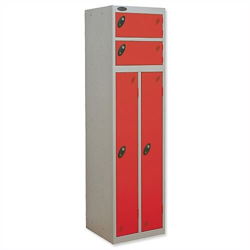 2 Person Locker Silver Body Red Doors Probe