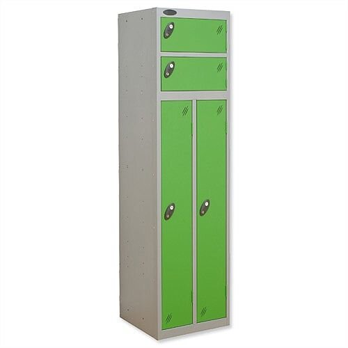 2 Person Locker Silver Body Green Doors Probe