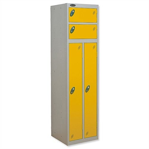2 Person Locker Silver Body Yellow Doors Probe