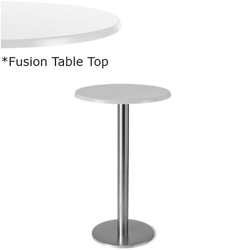 Frovi FLAT Round Canteen Poseur Table With Brushed Stainless Steel Base &Fusion Top Dia800xH1100mm - Ultra tough Laminated Surface For Indoor &Outdoor use - Available Colour Finishes: Dusky White (WH) &Steel Effect (S)
