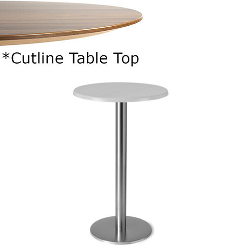 Frovi FLAT Round Canteen Poseur Table With Brushed Stainless Steel Base &Cutline Top Dia800xH1100mm - Thin-Cut Appearance Laminated Surface For Heavy-Use Areas