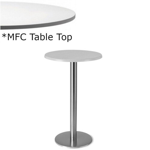 Frovi FLAT Round Canteen Poseur Table With Brushed Stainless Steel Base &MFC Top Dia800xH1100mm - Minimalist Design MFC Melamine Surface