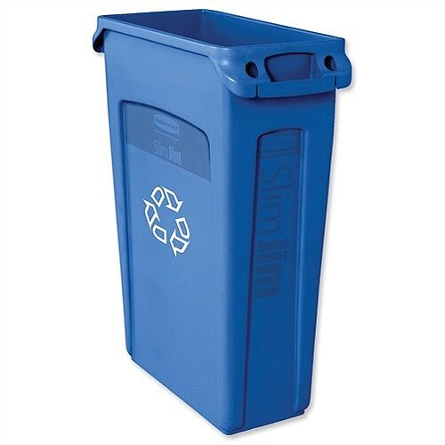 Rubbermaid Slim Jim Recycling Bin Container with Venting Channels 87L Blue Without Lid