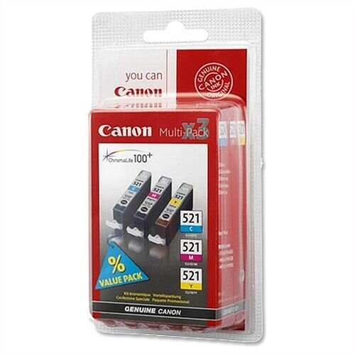 Canon CLI-521 C/M/Y 3-Colour Ink Cartridges Multi-Pack 2934B007