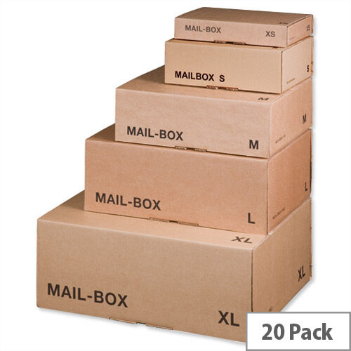 Smartbox Mailing Carton Easy Assemble L 395x255x140mm Brown Pack of 20