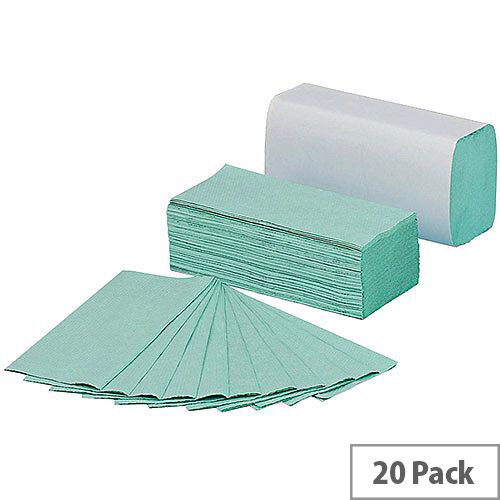 5 Star C Fold Paper Hand Towels 144 Towels Per Sleeve 20 Sleeves 230x305mm Green (Total 2880 Sheets)