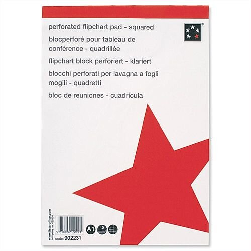 A1 Flipchart Pad Squared Perforated 40 Sheets Feint 20mm Pack 5 5 Star